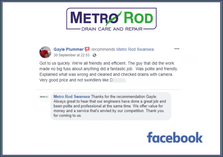 Five Stars Customer Swansea Metro Rod Swansea Blocked Drains Carmarthen Metro Rod
