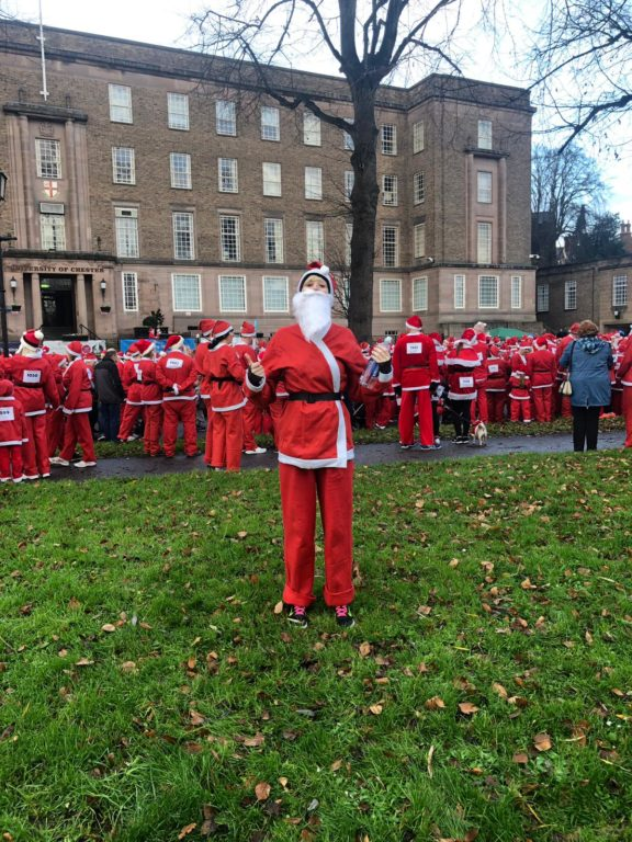Our Marketing Manager, Eleri, at the start line ready for the 8th annual Chester Santa Dash