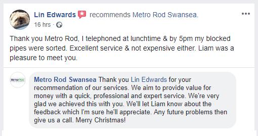 Metro Rod Swansea Christmas Emergency Value for Money Recommended Drain Toilet Blockage Carmarthen