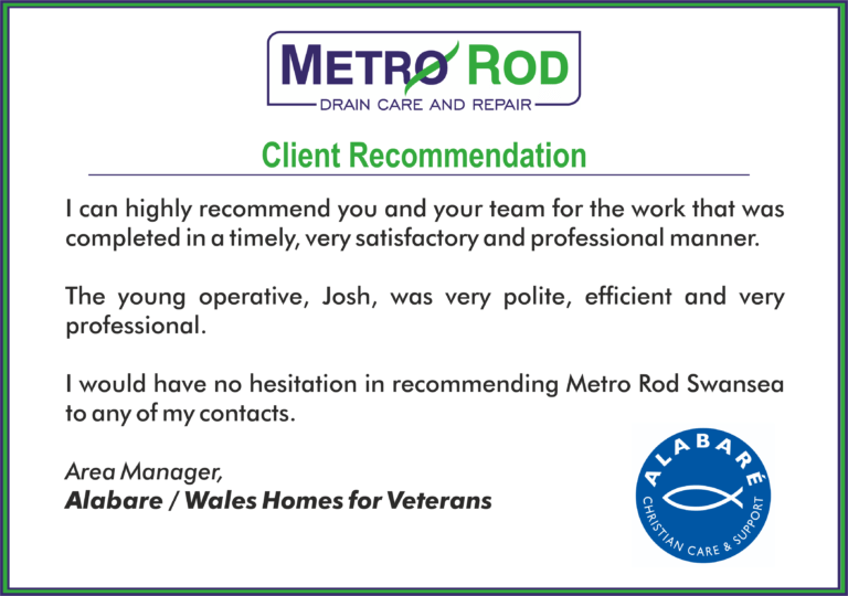 Recommendation Alabare Metro Rod Swansae Drainage Experts Blocked Toilets Swansea Drains Llanelli Neath