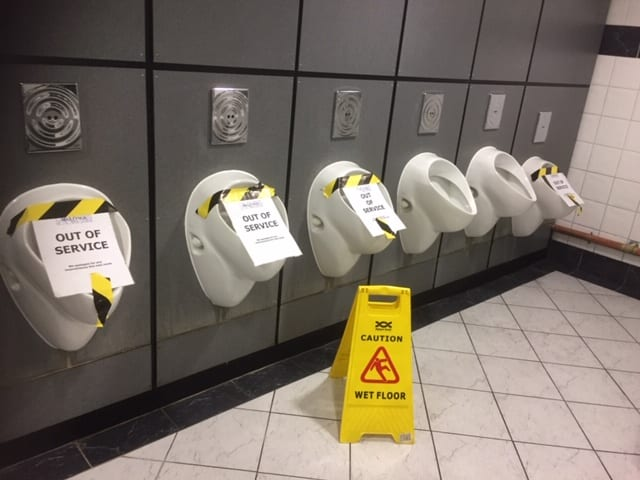 Blocked urinals London