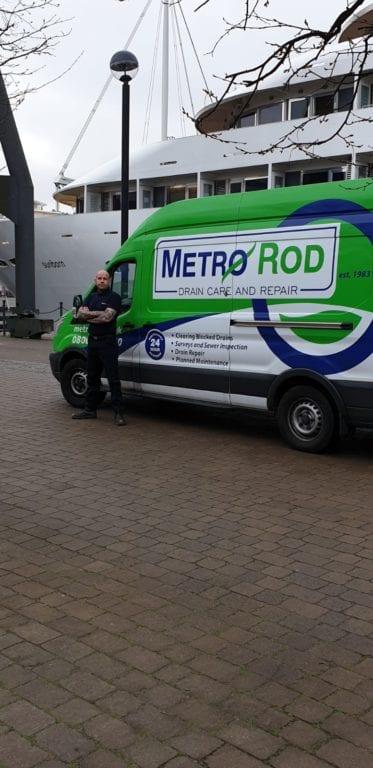 Blocked drain London hotel Metro Rod unblock