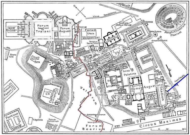 Map Of Downtown Rome During The Roman Empire Large Annotated